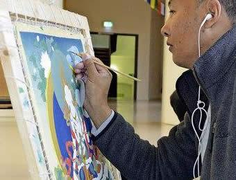 Les Cours Peinture Calligraphie Tibetain Tangkas Tibetains Renchin Dorjee Peintre Tibetain