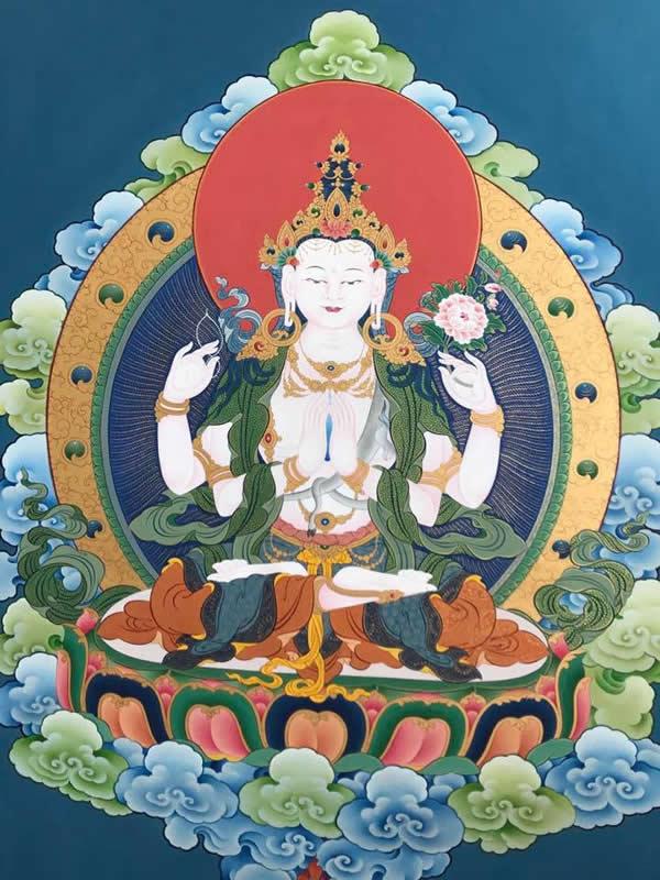 Tangka tibétaine tchenrezi